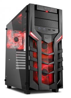Gamer PC i7-9700K Highend SSD Revolution Sharkoon DG7000-G Modding in Rot -60,-€