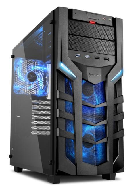 GTX 1070 Power PC24 Gamer PC Sharkoon DG7000-G Modding in Blau +0,-€